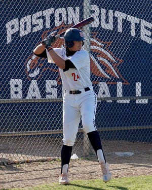 Ethan Hatch had a big week at the plate and on the mound, helping Poston Butte go 3-0 to remain unbeaten. Photo by Bryan Hardy