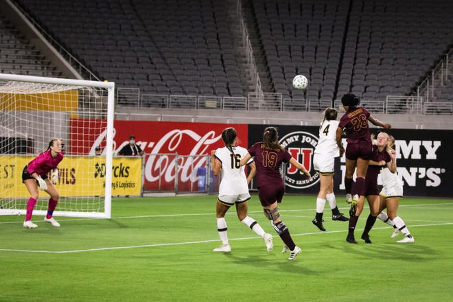 ASU freshman Jazmine Wilkinson scored her first goal on a header Friday against California.