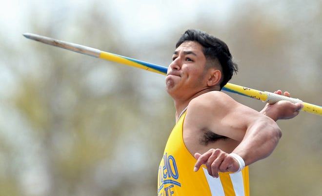 Luis Alvarado competes in the javelin event for Angelo State University during the David Noble Relays track and field meet Friday, April 2, 2021.