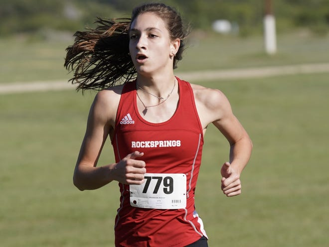 Rocksprings High School's Paige Elliott competes in a cross country meet in Sonora during the 2020 season.