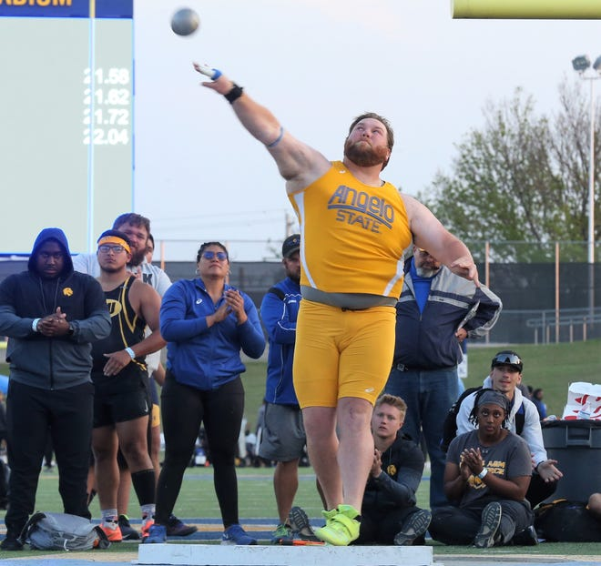 Angelo State University's Cameron Cross competes in the shot put during the David Noble Relays at LeGrand Stadium at 1st Community Credit Union Field on Friday, April 2, 2021.