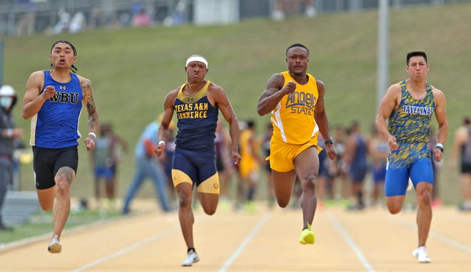 Angelo State University's Ja'Micah Polk, third from left, competes in the 100 meter event during the David Noble Relays track and field meet Friday, April 2, 2021.