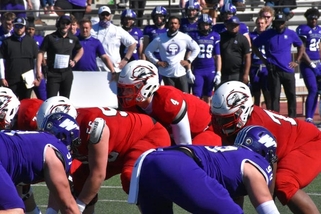 Southern Utah football hosts Weber State at Eccles Coliseum during a game on April 3. SUU is set to recoup this year some of the money it lost last year due to game cancellations prompted by the COVID-19 pandemic, especially because of two big-money matchups early in the year against larger programs.