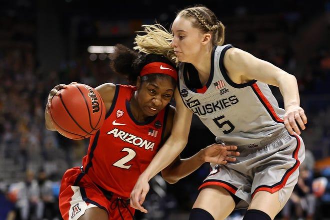Aari McDonald drives against Paige Bueckers.