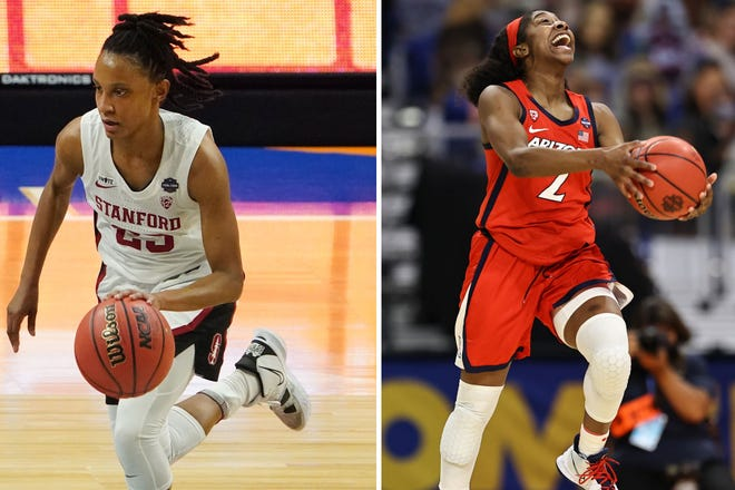 Kiana Williams, left, and the Stanford Cardinal will face Aari McDonald, right, and the Arizona Wildcats in an all Pac-12 NCAA women's championship game.