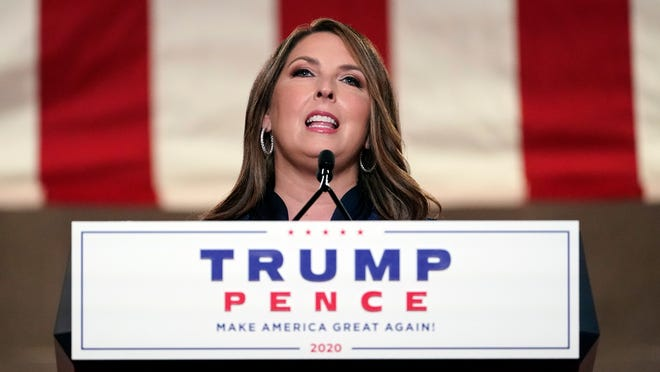 Republican National Committee chairwoman Ronna McDaniel speaks during the first night of the Republican National Convention from the Andrew W. Mellon Auditorium in Washington, Aug. 24, 2020.