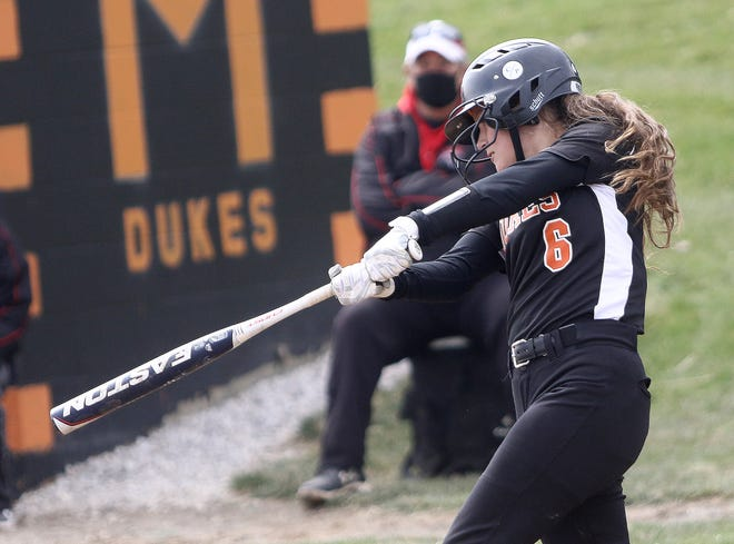 Ava Collins hit a double and two singles for Marlington in the Dukes' 12-2 win over Minerva on Wednesday.