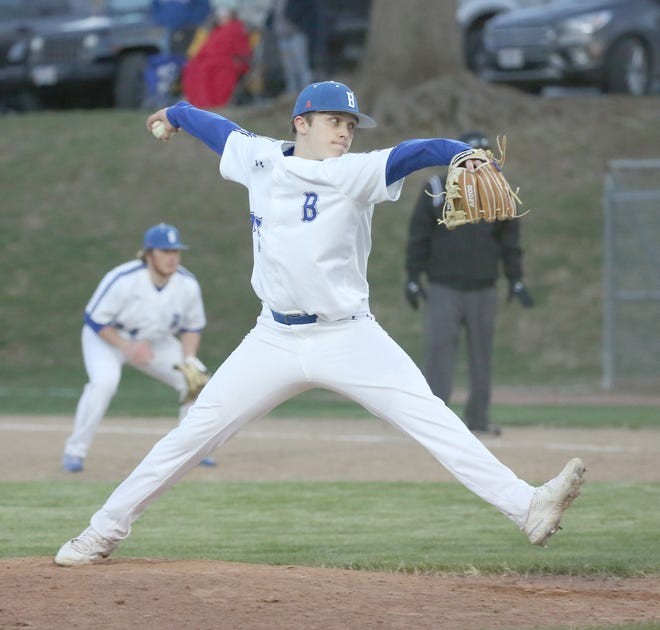 Boonville sophomore pitcher Shane Chamberlain delivers a pitch to the plate in junior varsity action Thursday night against Moberly at Twillman field in Harley park. The Boonville Pirates JV baseball team improved to 2-1 by beating Moberly 10-0.