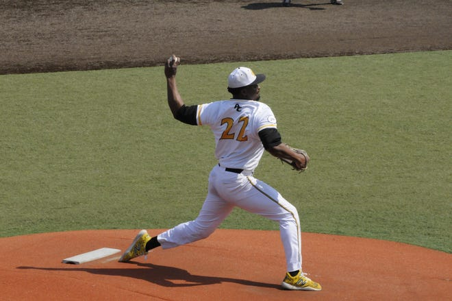 Adrian College pitcher Mo Hanley delivers during a game against Albion on Saturday.