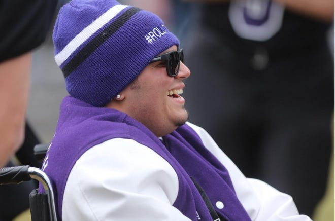 Tony Pena has a laugh during the Thanksgiving day football game against Nipmuc at Blackstone Valley Tech in Upton Thanksgiving day in 2019. Pena was diagnosed with a brain tumor in 2019 and died on Jan. 14, 2020.