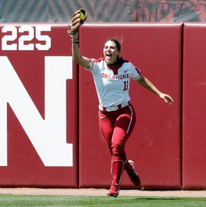 OU outfielder Nicole Mendes celebrates after robbing Kansas of a home run Saturday.