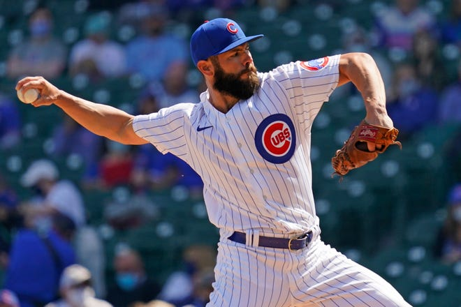 Chicago Cubs starting pitcher Jake Arrieta throws against the Pittsburgh Pirates during the first inning Saturday in Chicago.