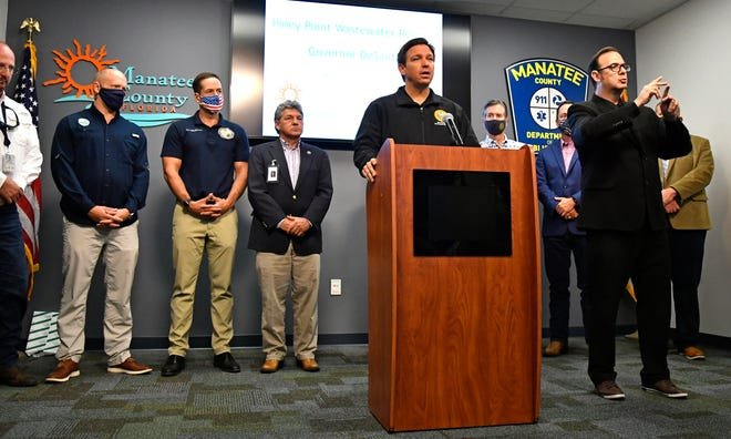 Gov. DeSantis updated the Piney Point situation (April 4, 2021) during a Sunday morning press conference held at Manatee County's Public Safety Department in Bradenton.