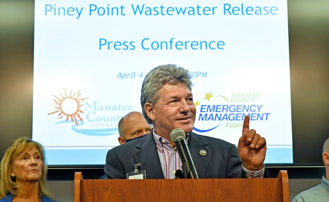 Dr. Scott Hopes, acting Manatee County administrator, said that there is now below 300 million gallons of water left to be pumped from the leaking reservoir, during the Piney Point Wastewater Release press conference held at Manatee County's Public Safety Department in Bradenton on Sunday afternoon, April 4, 2021.