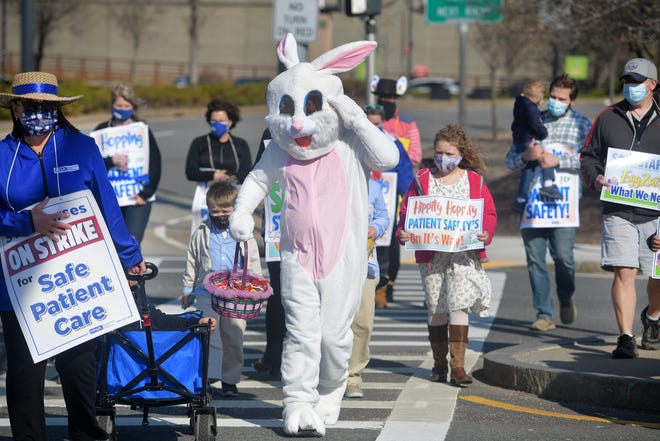 The Easter Bunny joined St. Vincent nurses and their children Sunday for a march from strike headquarters on East Central Street to the picket line on Summer Street in Worcester.