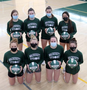 Wachusett girls' volleyball seniors, front row (left to right) Lauren Arvidson, Delainey Witt, Leah Michalowski, and Emily Roy. Top row (left to right): Meg Bardis, Maggie Burton, Zoe Yanco and Sabrina Zhou.