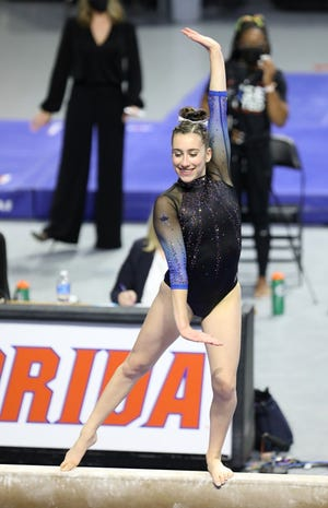 Florida's Leah Clapper won the beam with a 9.95 at the NCAA Regional. [File]