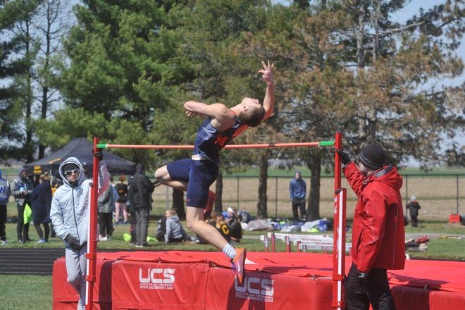 Galion's Caleb Branstetter won the high jump at the Bucyrus Elks Invitational with a height of 6-2, a new PR for the senior.