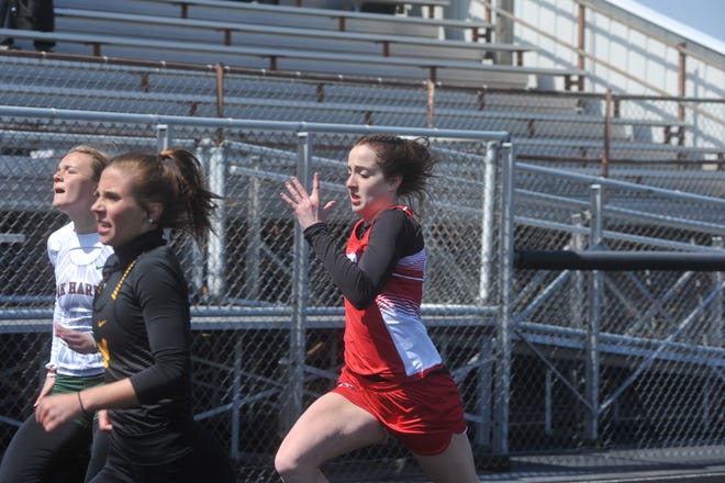 Bucyrus freshman Emma Tyrrell won the 100 and 200 dash in her first-ever high school track meet at the Bucyrus Elks Invitational.