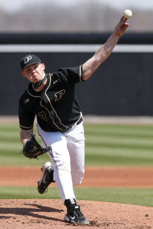 Purdue pitcher Jackson Smeltz (17) throws during the second inning of an NCAA baseball game, Saturday, April 3, 2021 at Alexander Field in West Lafayette.