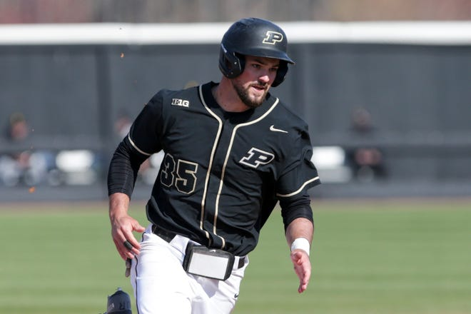 Purdue left fielder Ben Nisle (35) rounds second during the eighth inning of an NCAA baseball game, Saturday, April 3, 2021 at Alexander Field in West Lafayette.