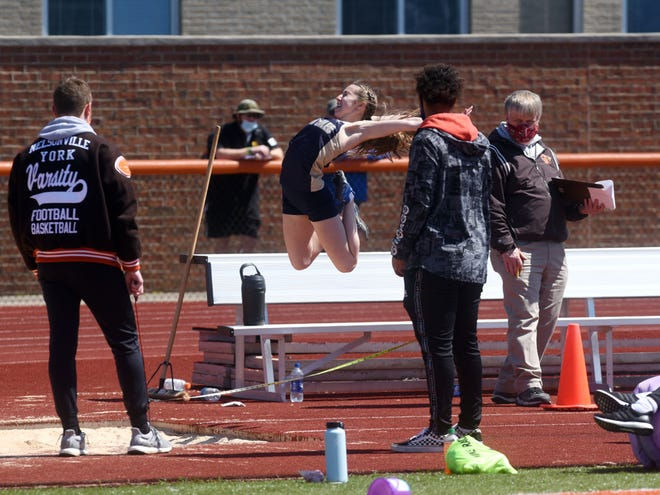 Lancaster's Makayla Cody competes in the long jump at the annual Rocky Boots Invitational on Saturday at Nelsonville-York High School.