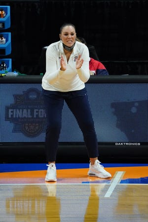 Apr 4, 2021; San Antonio, TX, USA; Arizona Wildcats head coach Adia Barnes reacts on the sidelines against the Stanford Cardinal in the national championship game of the women's Final Four of the 2021 NCAA Tournament at Alamodome. Mandatory Credit: Kirby Lee-USA TODAY Sports