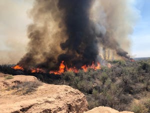 The Gila Fire burned in the Gila River bottom east of Yuma on April 4, 2021.