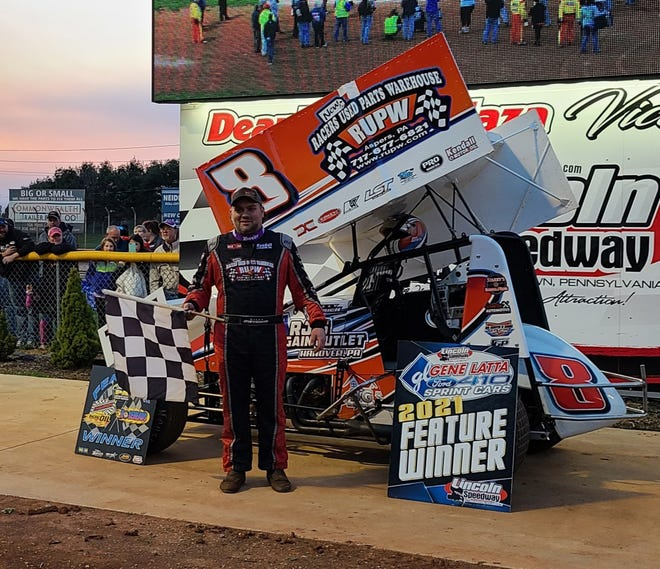 Billy Dietrich is shown after his win Saturday at Lincoln Speedway.