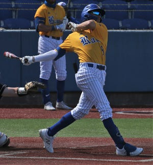 Angelo State University right fielder Josh Elvir watches a home run leave the park during a game earlier in the 2021 season.