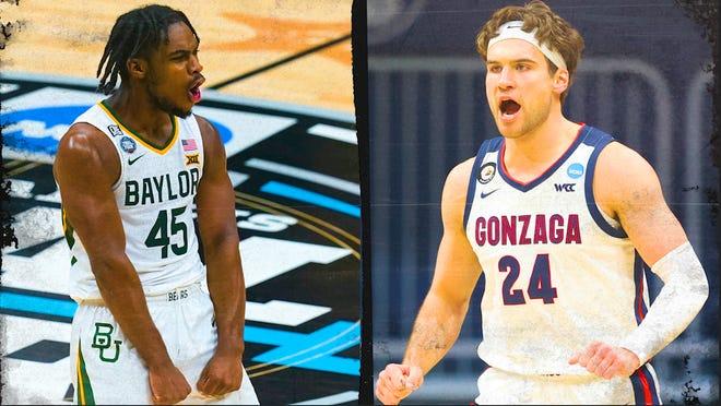 Baylor's Davion Mitchell and Gonzaga's Corey Kispert.