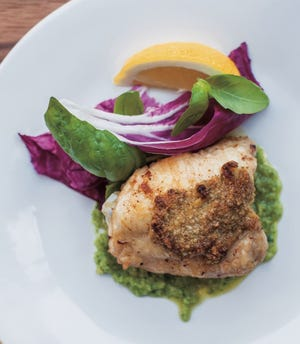 These chicken thighs are stuffed with a pesto made from herbs and macadamia nuts.