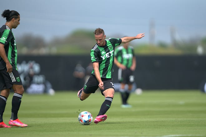 Austin FC midfielder Tomás Pochettino delivers a free kick for a goal during the club's 3-2 loss to Houston Dynamo earlier in the month. Pochettino is one of the newcomers to MLS that should have an immediate impact on the league.