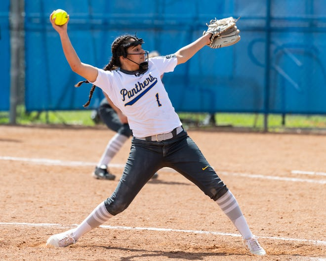 Pflugerville's Delilah Robles, delivering to the plate against Hendrickson earlier in the season, pitched a complete game, allowing four hits with nine strikeouts in a win over rival Connally last week.