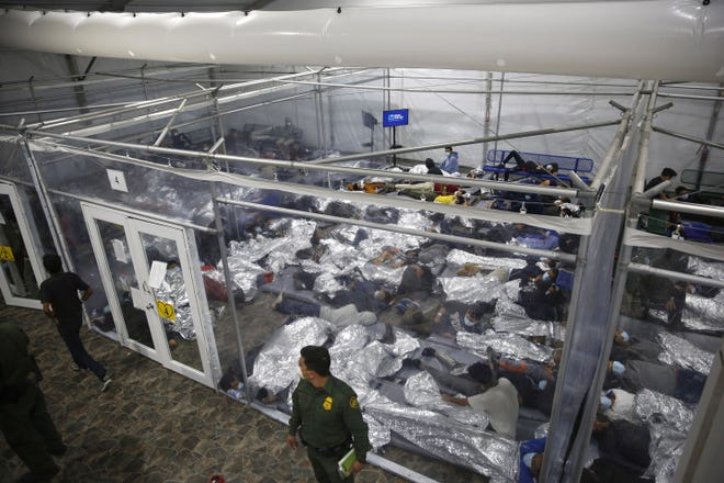 Minors inside a pod in Donna, Texas, at the main detention center for unaccompanied children in the Rio Grande Valley run by U.S. Customs and Border Protection (CBP), on March 30.