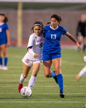 Pflugerville's Kyndahl Britton, right, scored twice in a 4-3 loss to A&M Consolidated in last week's Class 5A Region III quarterfinal playoff game.