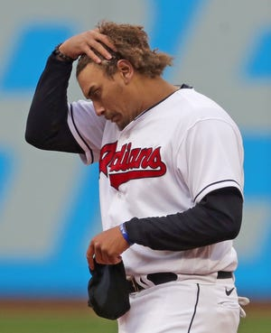 Cleveland's Josh Naylor reacts after lining out to left field to end the fourth inning during the team's home opener against Kansas City on Monday. [Jeff Lange/Beacon Journal]