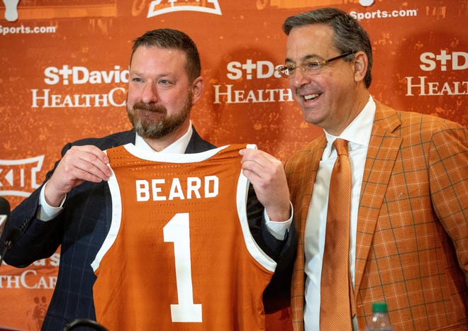 Texas Athletics Director Chris Del Conte introduces new men's basketball coach at his introductory press conference on April 2.