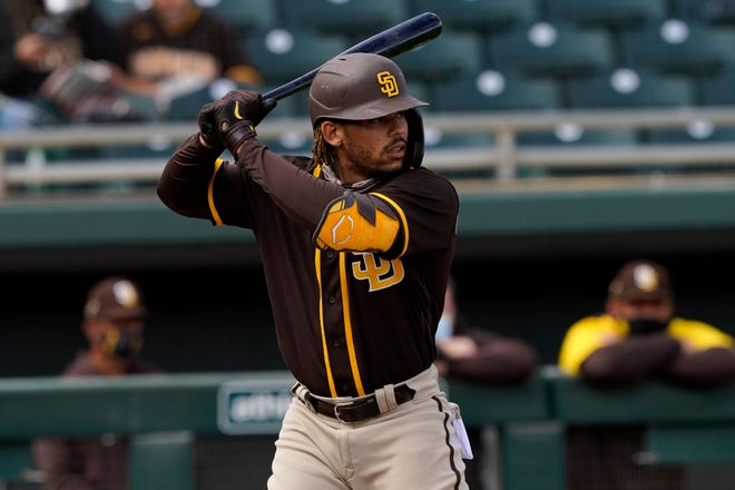 Luis Campusano, a former Cross Creek standout who plays for the San Diego Padres, was arrested on a marijuana charge after a traffic stop in Grovetown last year. The charge was recently dismissed. [Matt York/Associated Press]