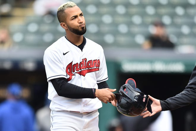Cleveland left fielder Eddie Rosario (9) reacts after striking out during the sixth inning against the Kansas City Royals at Progressive Field, Monday in Cleveland.