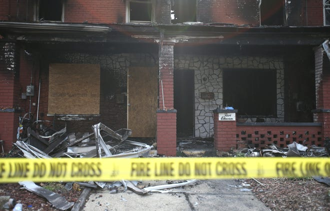 Damage is seen in the 500 block of Glenwood Avenue in Ambridge after a fire broke out around 2:30 a.m. Sunday.