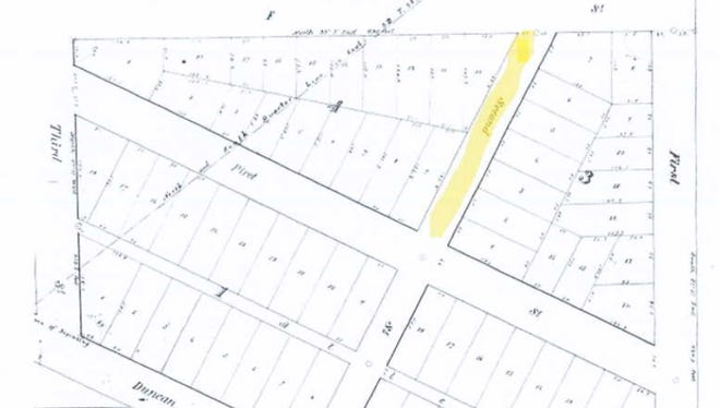 Nicholas Jarvis has requested the city council host a public hearing to consider the vacation of a portion of Second Street that runs through his propertyÑhighlighted in yellowÑ so he can maintain the property. This public hearing is scheduled for April 27.