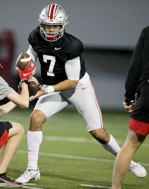 C.J. Stroud again took the first reps in practice Monday, but Ohio State coach Ryan Day said not to read too much into that.