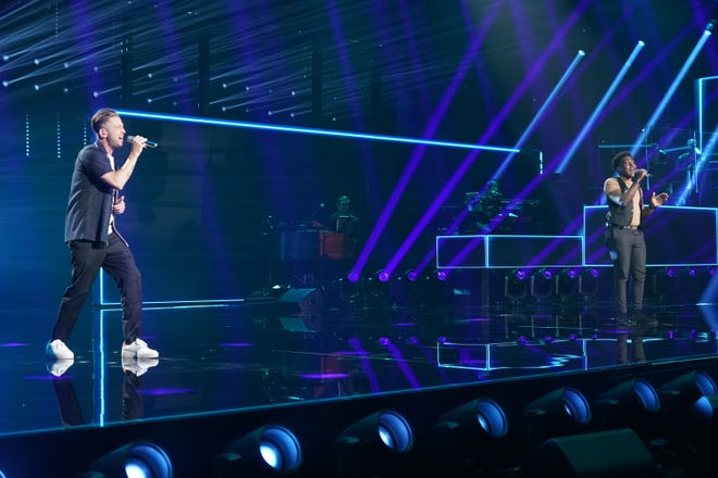 """Following last week's Showstopper round, """"American Idol"""" continues with the All Star Duet and Solo round. Deshawn Goncalves, right, performs with OneRepublic's Ryan Tedder for a sensitive cover of Tedder's """"I Lived"""" during Sunday night's program."""