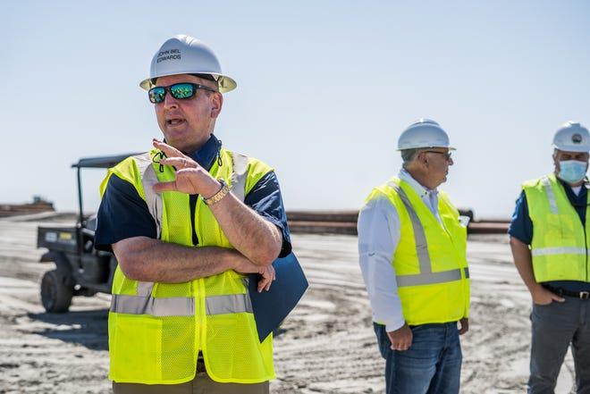 Gov. John Bel Edwards tours construction work Monday at Trinity-East Island.