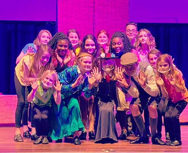 The cast of Mary Poppins Jr., pictured (from left to right): Front row: Annabelle Flagler, Ady Rippy, Emily Sapp, Ethan Rippy and Eliana Shansky. Middle Row: Natalie Wolgamott, Kourtnee McDuffie, Olivia LaTour, Jazmyn McDuffie and Addy Flagler. Back row: Emma Beauchin, Hadassah Shansky, Annie Chandler, Nick LaTour and Isabella Ritter. Not pictured: Camryn Waters, Haley Williams and Rowann Mahaney