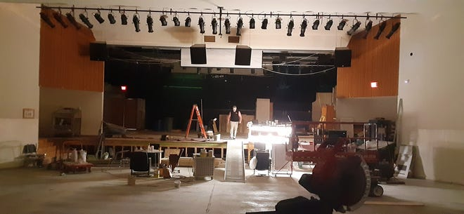 Dansville Central School Superintendent Dr. Paul Alioto seen on stage during the auditorium renovation.