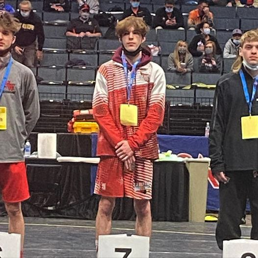 Coldwater senior Logan Pike finished in 7th place at Friday's MHSAA D2 State Finals in the 112 pound weight class