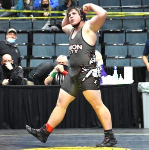 Union City sophomore Grady Iobe earned his first All-State honor, taking 8th place in the 215 pound weight class at the D4 state wrestling finals on Saturday.