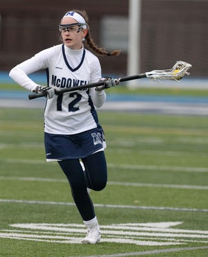McDowell's Caitlin Morris was a District 10 Girls Lacrosse Co-Player of the Year in 2019 with teammate Sydney Keinath.